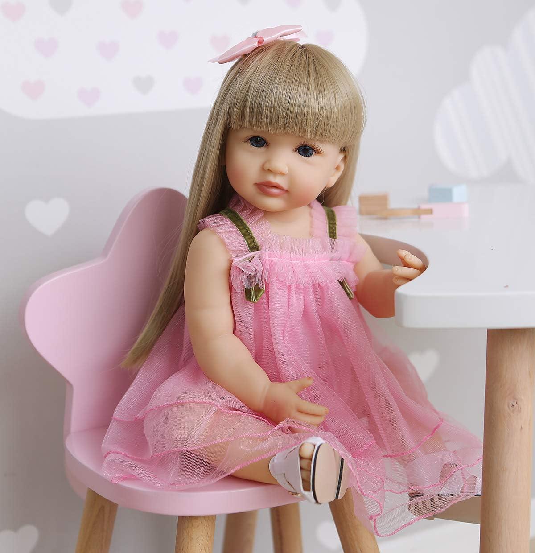 Waterproof Full Body Silicone Vinyl Reborn Baby Girl Doll Realistic Newborn Gift