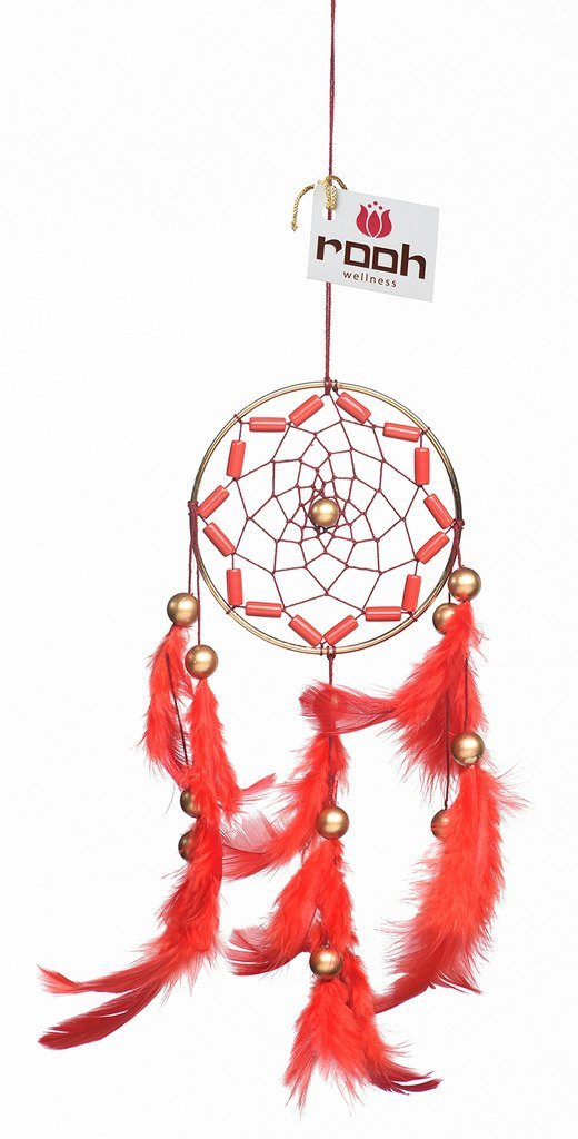 Rooh Dream Catcher ~ Crafty Red ~ Handmade Hangings for Positivity (Used as Home Décor Accents, Wall Hangings, Garden, Car, Outdoor, Bedroom, Key chain, Meditation Room, Yoga Temple, Windchime) (red) by Rooh