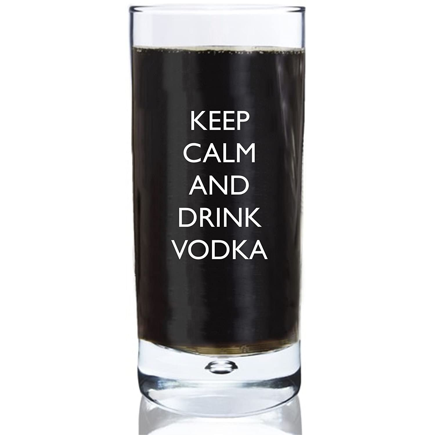 10oz Bubble Base Hi Ball Glass With Keep Calm and Drink Vodka Design Lapal Dimension