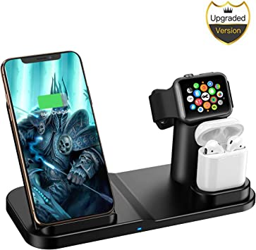 Wireless Charger, 3 in 1 10W Qi Certified Fast Wireless Charger Stand Compatible iPhone XRXS MaxXSX 88 PlusApple WatchAirpod
