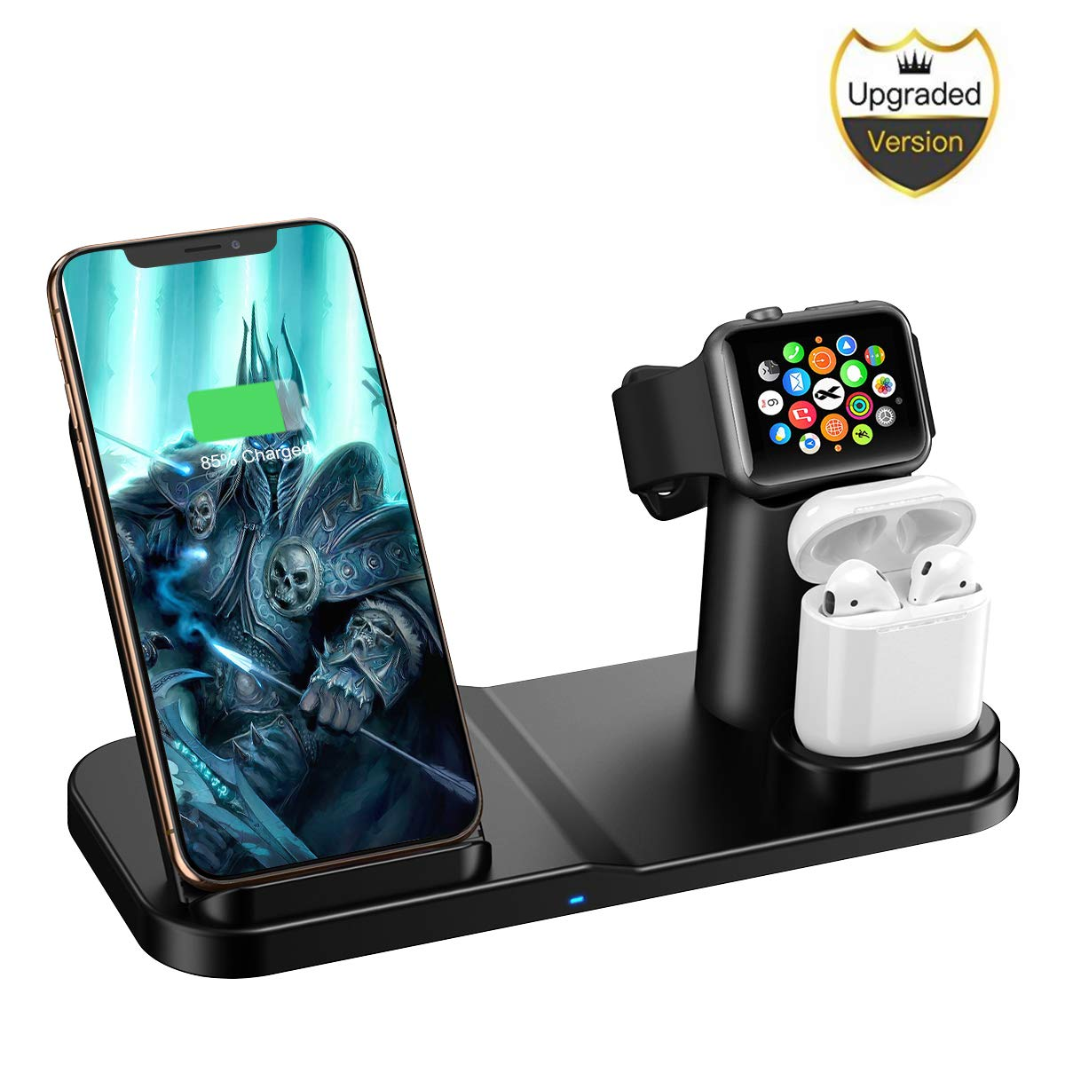Wireless Charger, 3 in 1 10W Qi-Certified Fast Wireless Charger Stand Compatible iPhone 11/11 Pro Max/X/XS/XS Max/Apple Watch/Airpods by AQHQUA