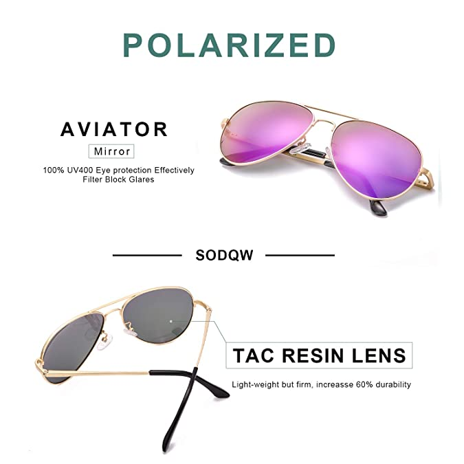 2f85650962 Amazon.com  SODQW Aviator Sunglasses Mirrored for Women Polarized with  Large Metal Frame - UV 400 Protection(Gold Frame Violet Purple (Mirror))   Shoes