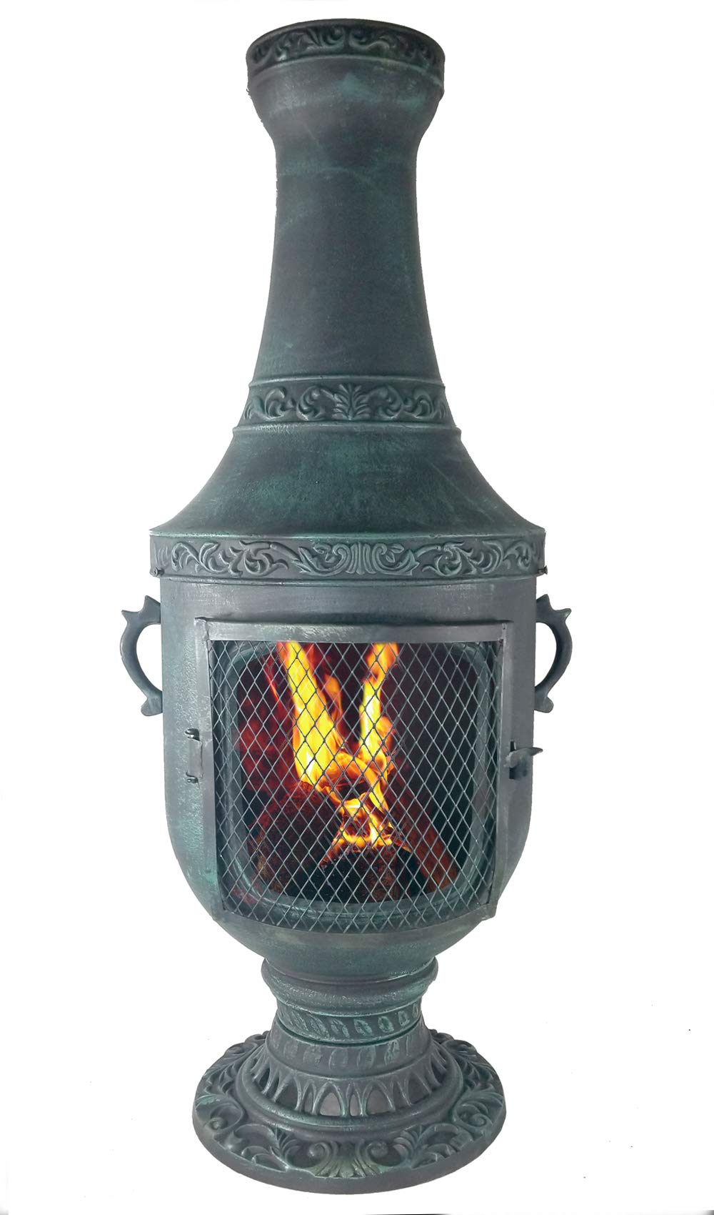 The Blue Rooster CAST Aluminum Venetian Chiminea with Gas kit and 10' Hose in Antique Green. Also Comes with a Free Year Round Cover. ... by The Blue Rooster