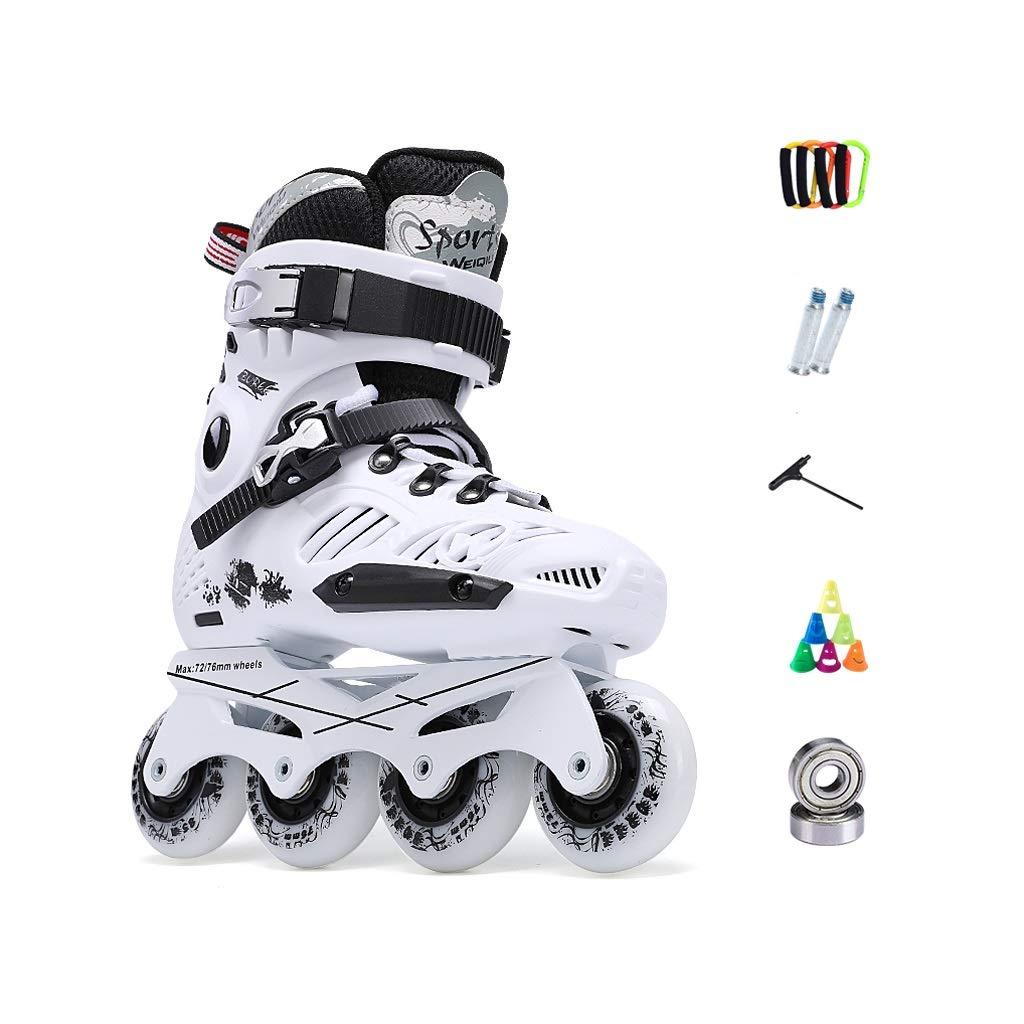 Ailj アダルトスポーツローラーブレード、 女性コンビネーションパッケージ インラインスケートメンズ 快適な通気性ローラーブレード 黒、白 (Color : 白い D, Size : EU 40)