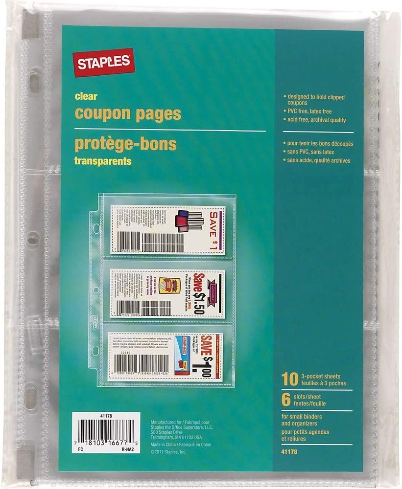 Staples 403487 3 Pocket Heavy-Duty Coupon Pages Clear 5-Inch x 8-Inch 10//Pack 41178