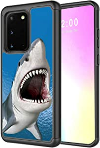 Galaxy S20 Case,Rossy 2 in 1 Hybrid Hard PC & Soft Silicone Heavy Duty Dual Layer Shockproof Full-Body Protection Case for Samsung Galaxy S20/S11E 5G 6.2 inch-Hungry Shark