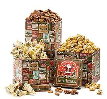 happy holiday honey nuts and popcorn cherry bark gourmet gift basket 3 tier tower merry