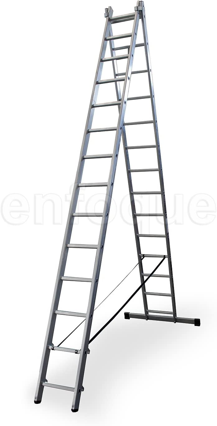 Escalera profesional de aluminio transformable apoyo-tijera con base un acceso 2 x 14 peldaños serie bis: Amazon.es: Hogar