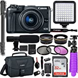 Canon EOS M6 Mirrorless Digital Camera with 15-45mm Lens (Black) + Professional Video Kit with 32GB Memory, HD Filters, Monopod, Spider Tripod, Canon Gadget Bag & More.
