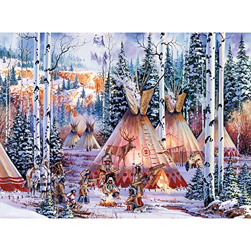 Bits and Pieces - 300 Large Piece Glow in the Dark Puzzle for Adults - The Bear Spirit, Native American - by Artist Kirk Randle - 300 pc Jigsaw