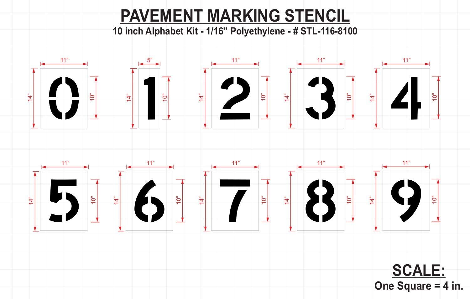 Rae Pavement Stencil, Numbers, 10'', Low Density Polyethylene, 1 EA - STL-116-8100