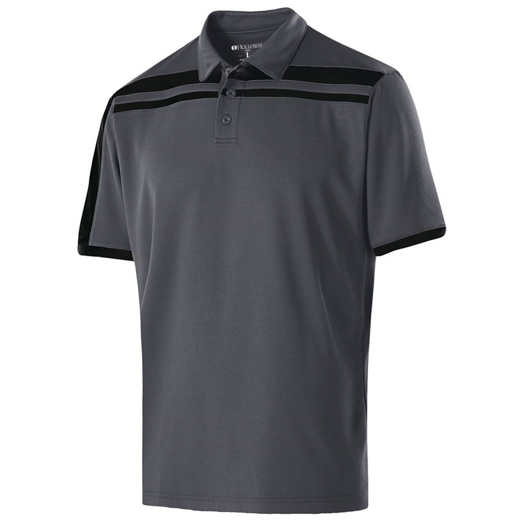 Holloway Dry-Excel Mens Charge Polo (X-Large, Carbon/Black) by Holloway