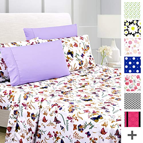 American Home Collection Deluxe 6 Piece Printed Sheet Set of Brushed Fabric, Deep Pocket Wrinkle Resistant - Hypoallergenic (King, Purple Butterfly)