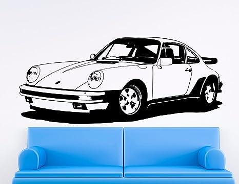 Streetwall Pared Adhesivo Porsche 911 Turbo 930, Vinilo, Negro, pequeño