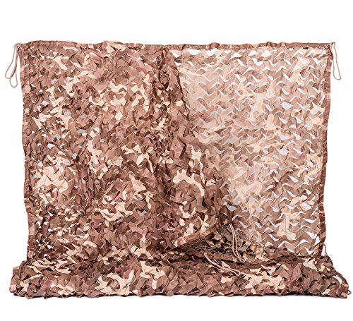 NINAT Desert Camo Netting 6.5x10ft Military Camouflage Net For Camping Hunting Shooting Sunscreen Nets (Tan Camo)