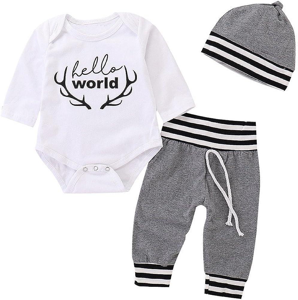Newborn Kids Baby Boys Girls Jumpsuit Romper T-Shirt+Long Pants+Cap 3PC Outfits