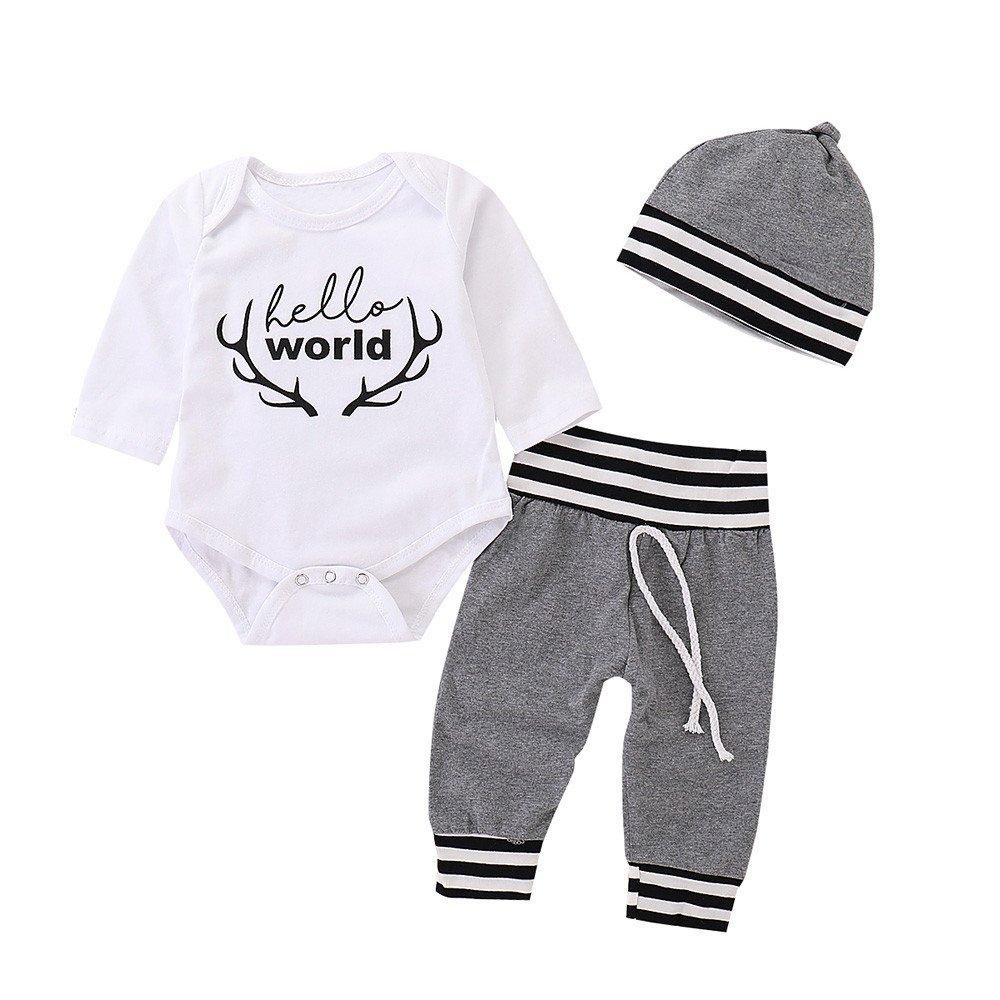 Infant Baby Girls Boys Letter Print Romper Jumpsuit Striped Pants Outfits Set