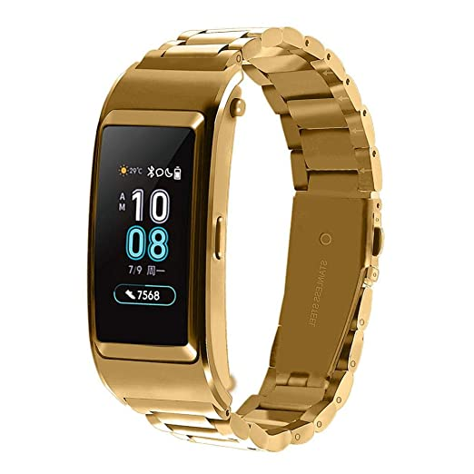 Bestow Huawei B5 Smart Watch Nuevo Brazalete de Pulsera de Acero Inoxidable Reloj Banda de Banda Smartwatch Electronics Gadget Reloj de Pulsera(Oro): ...