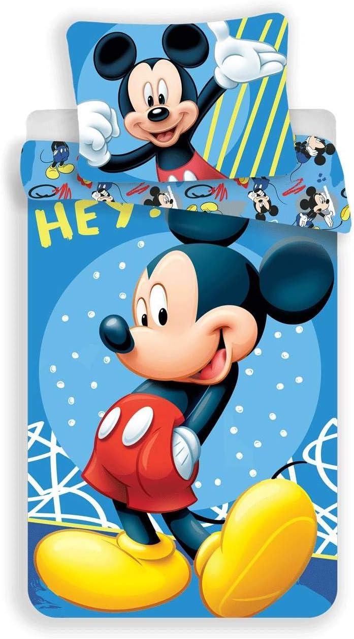 JF Disney Mickey Mouse Bettw/äsche Hey Wendebettw/äsche Gr/ö/ße Kissen 70 x 90 cm 100/% Baumwolle in Blau 140 x 200 cm