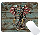 Wknoon Gaming Mouse Pad Custom Design, Vintage Colorful Indian Floral Elephant on Rustic Wood Art