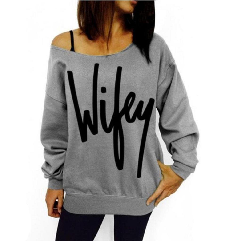 Bestop Women Ladies Long Sleeve Letter Print Loose Sweatshirt Cotton Off Shoulder Pullover Tops Blouse Shirt Sweater (M, Gray)