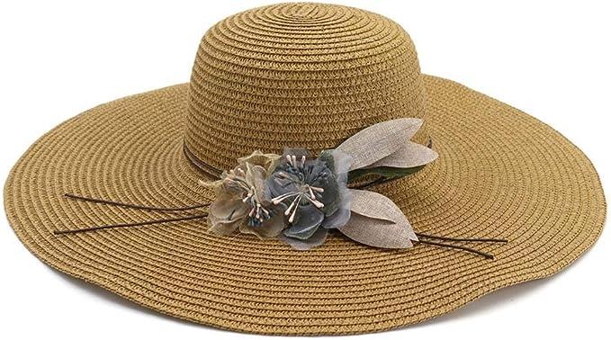 2020 Jane Ge' Store Cap Ala Gran flor de verano de las señoras del sombrero de paja del casquillo Damas Jóvenes sombrero for el sol sombrero de playa