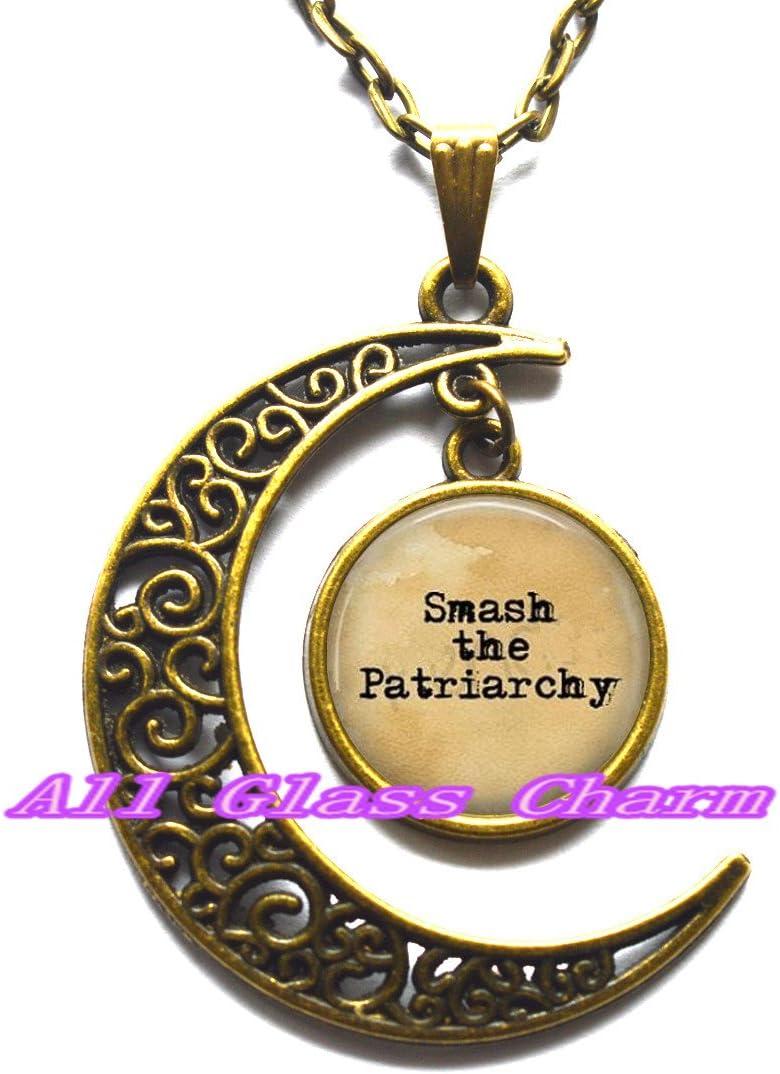 Delicado collar de luna, luna creciente joyería Smash el patriarcado colgante collar – Misandria – Hombres De Lágrimas – feminismo – feministas Jewelry – Colgante de los derechos de la mujer –