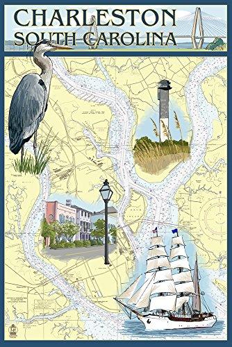 Charleston, South Carolina - Nautical Chart (24x36 Giclee Gallery Print, Wall Decor Travel Poster)