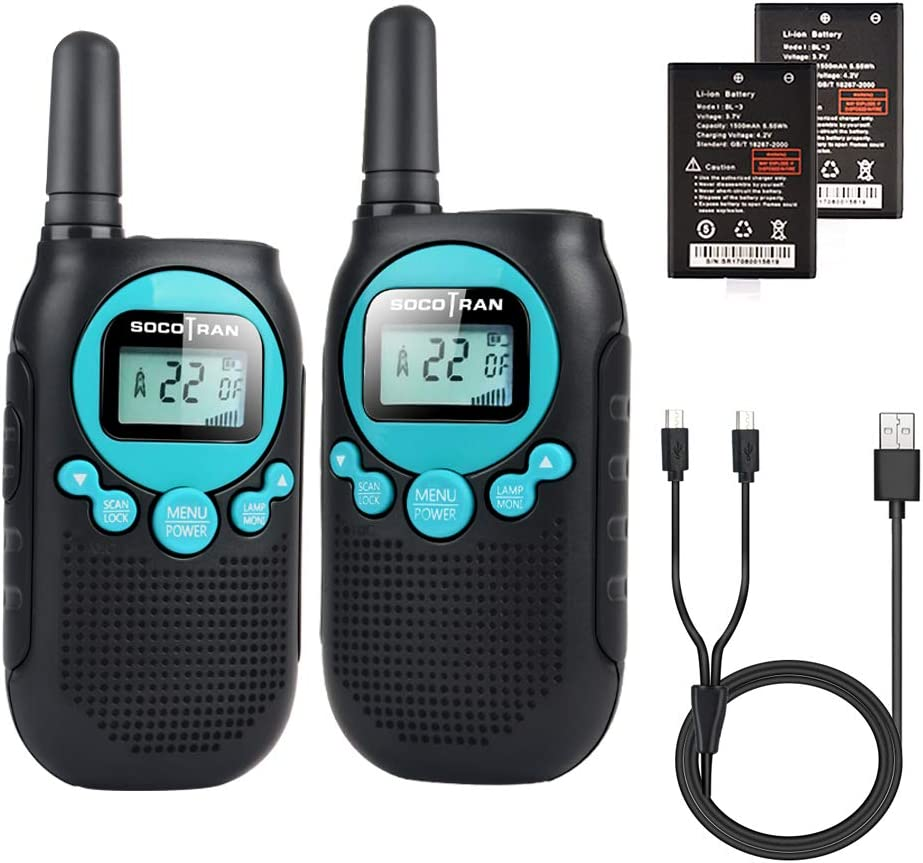 Rechargeable Walkie Talkies for Adults 5 Mile Long Range Boys Walkie-talkies 2 Pack 22CH 0.5W License Free Two Way Radio with Flashlight Easy to Use for Family Camping Trip