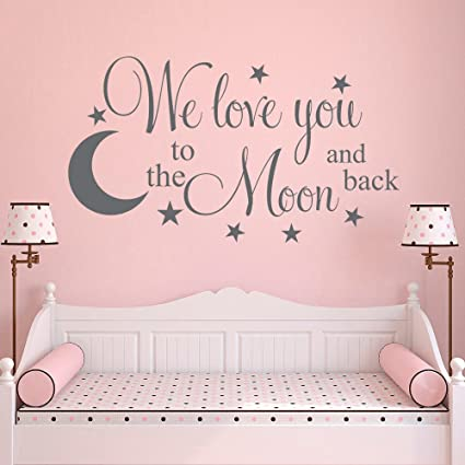 amazon com nursery wall decal we love you to the moon and back moon