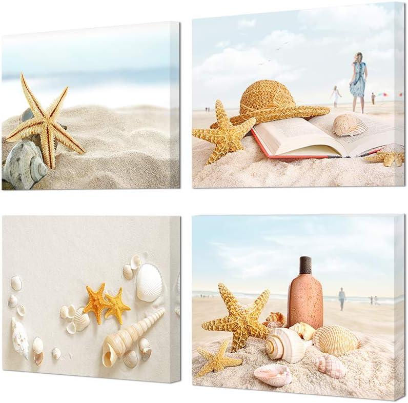 HOMEOART Ocean Coastal Landscape Canvas Wall Art Beach Seashell Wall Pictures Bathroom Decor, Framed Ready to Hang