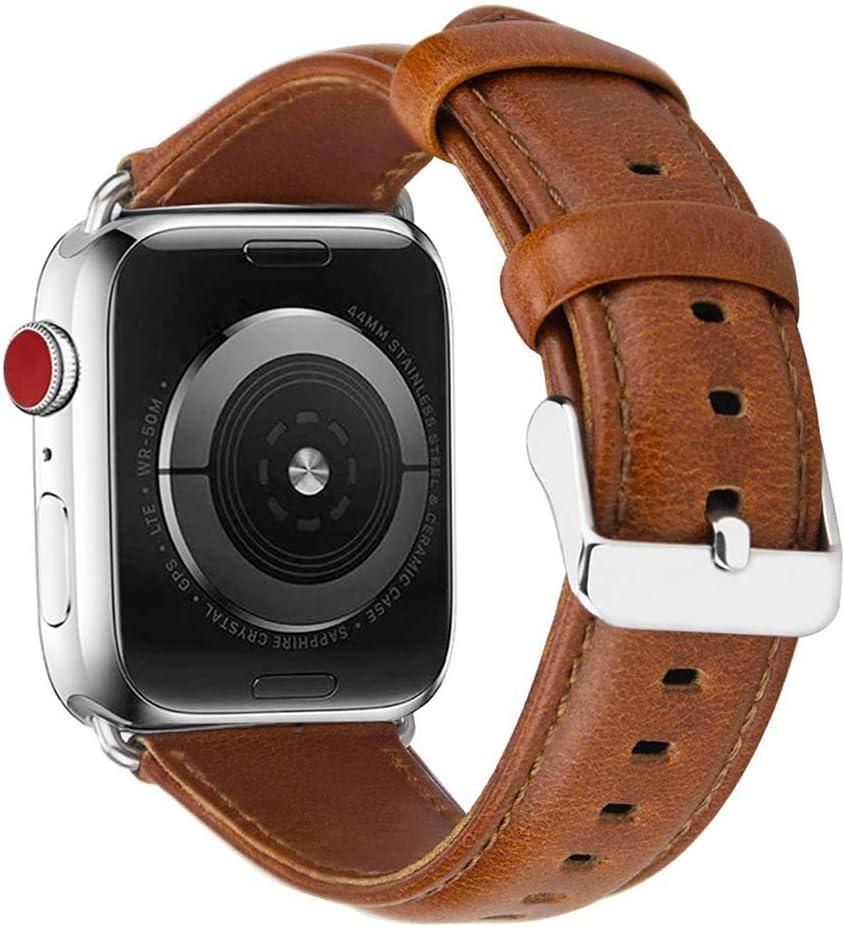 MroTech Correa Compatible para iWatch Serie 4 5 44mm y 42mm Serie 3,2,1 Pulsera de Reemplazo de iWatch Correa Banda de Reloj para iWatch 42 mm / 44 mm Watch Band, Retro Marrón