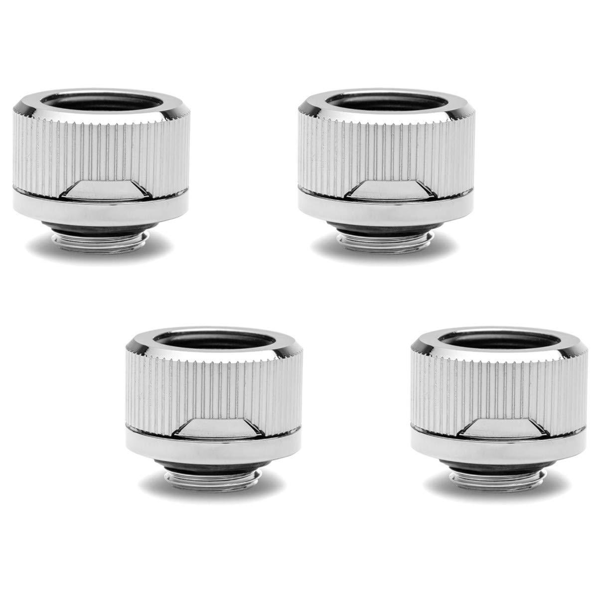 EKWB EK-Torque HTC-16 Compression Fitting for EKWB Rigid Tubing, 16mm OD, Nickel, 4-Pack