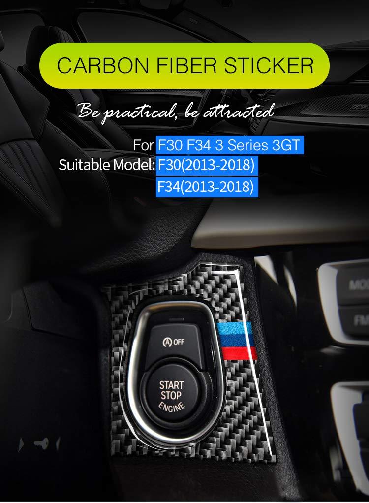 GZXinWei Interior Carbon Fiber Car Start Stop Engine Button Cover Sticker Car Styling