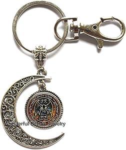 New Cthulhu R'lyeh Sigil Key Ring Inspired by H.P. Lovecraft Key Ring Moon Keychain Glass Photo cabochon Moon Keychain,PU341 (Silver)