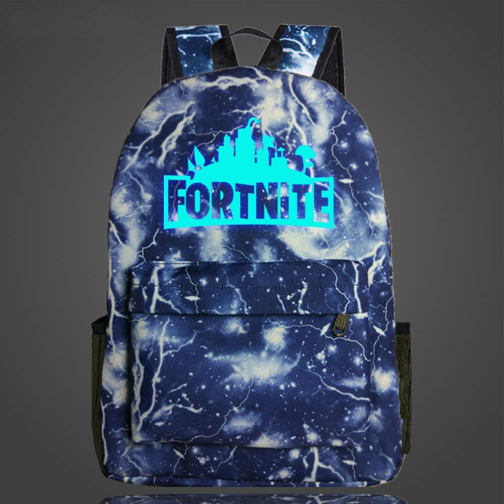 Fort Loot Fortnite Blue Luminous Lightning Backpack School Supplies - Kids School Bag Gift