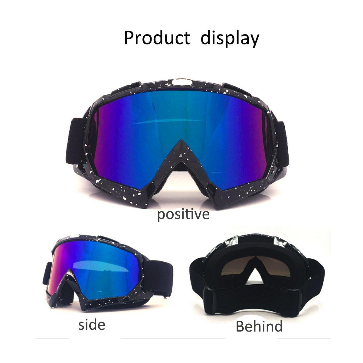 jiele Motocross Gafas, equipo Off – road gafas, resistente al viento, resistente al polvo, UV 400 lentes de protección flexible OTG marco, adulto ...