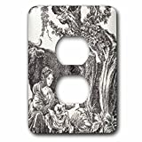 3dRose LSP_268732_6 French Country. Black and White Plug Outlet Cover,