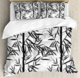Bamboo Duvet Cover Set King Size by Lunarable, Abstract Forest Leaves Floral Chinese Garden Plants Zen Spa Summer, Decorative 3 Piece Bedding Set with 2 Pillow Shams, Black Charcoal Grey White