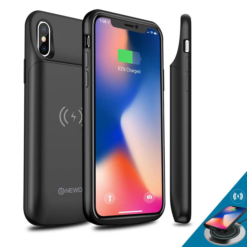 [Upgraded] iPhone X/Xs Battery Case Qi Wireless Charging Compatible, Newdery 6000mAh Slim Extended Rechargeable External Charger Case Compatible iPhone X/Xs (5.8'' Black)