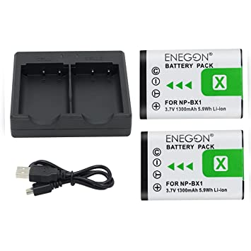 NP-BX1 ENEGON Batería de Repuesto (Paquete de 2) Cargador rápido para Sony NP-BX1 y Sony Cyber-Shot DSC-RX100, RX100 II, DSC-RX100M II (No Apto para ...