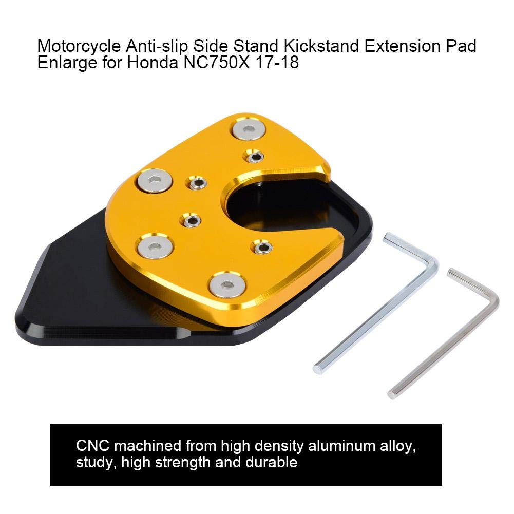 blue Qiilu Motorcycle Side Stand,Motor Kickstand Enlarger Pad for NC750X 17-19