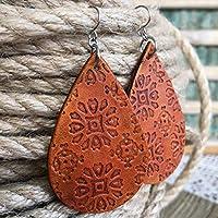 Teardrop Earrings Embossed Genuine Leather in Antiqued Saddle Brown