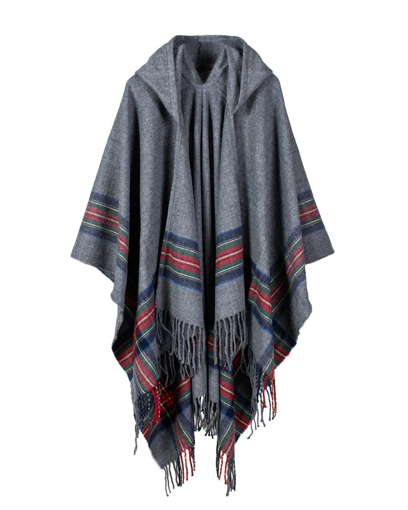 Romacci New Women Knitted Poncho Cape Hooded Stripe Cardigan Sweater Long Shawl Scarf GA0569GY-DEBPC3