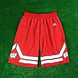 Wisconsin Badgers Adidas NCAA Mens Basketball Shorts- Red (X-Large)
