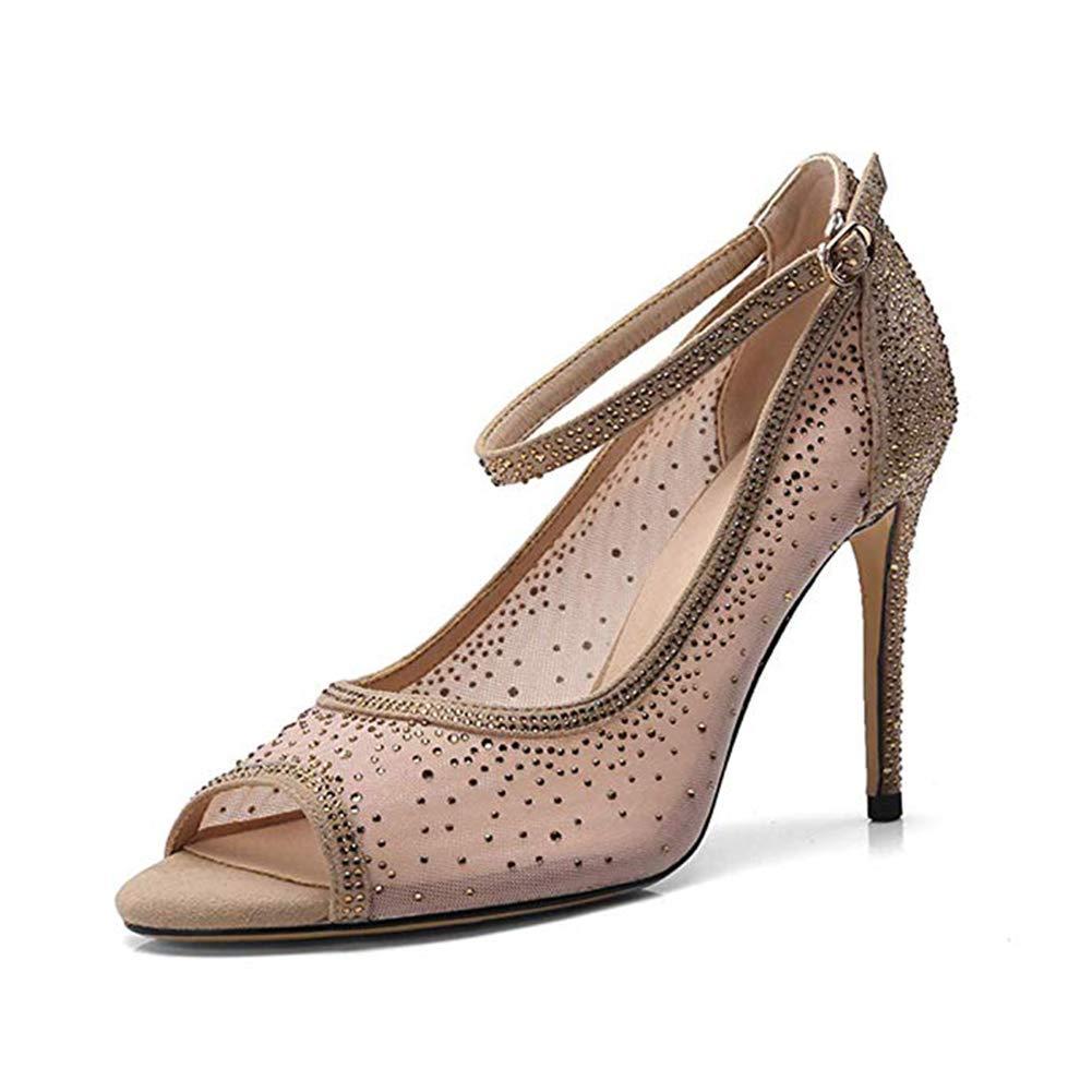 Dressfirst Womens Strap Stiletto Heel Peep Toe Pumps Bridal Wedding Party Shoes with Rhinestone