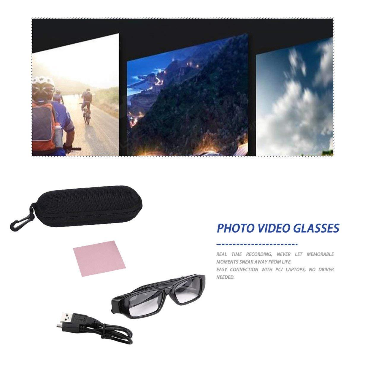 Noir Mini cam/éra 1080p HD Lunettes DVR enregistreur vid/éo cam cam/éscope pour Les Sports de Plein air randonn/ée cam/éra