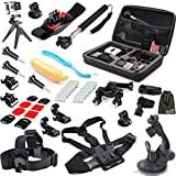EEEKit 11-in-1 Travel Kit for GoPro Hero 5 Black 4 HD 3 2, Large Case Bag, Chest/Head Strap,Monopod/Adhesive/Bike/Tripod/Wrist/Car Mount, Handle Grip