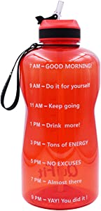 QuiFit Motivational Gallon Water Bottle - with Straw & Time Marker Large BPA Free Water Jug for Fitness Outdoor Enthusiasts Leak-Proof and Durable