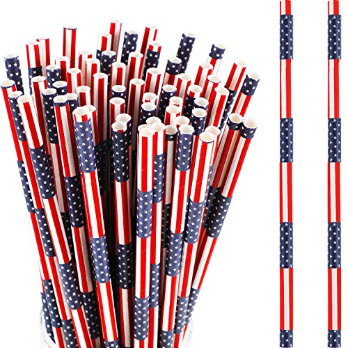 Biodegradable Flag - 225 Pieces Patriotic Paper Straws American Flag Paper Straws Red Blue Paper Drinking Straws for Independence Day Memorial Day July 4th Celebration Supplies